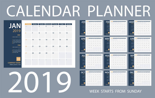 calendar planner 2019 - vector template. days start from sunday - calendars templates stock illustrations