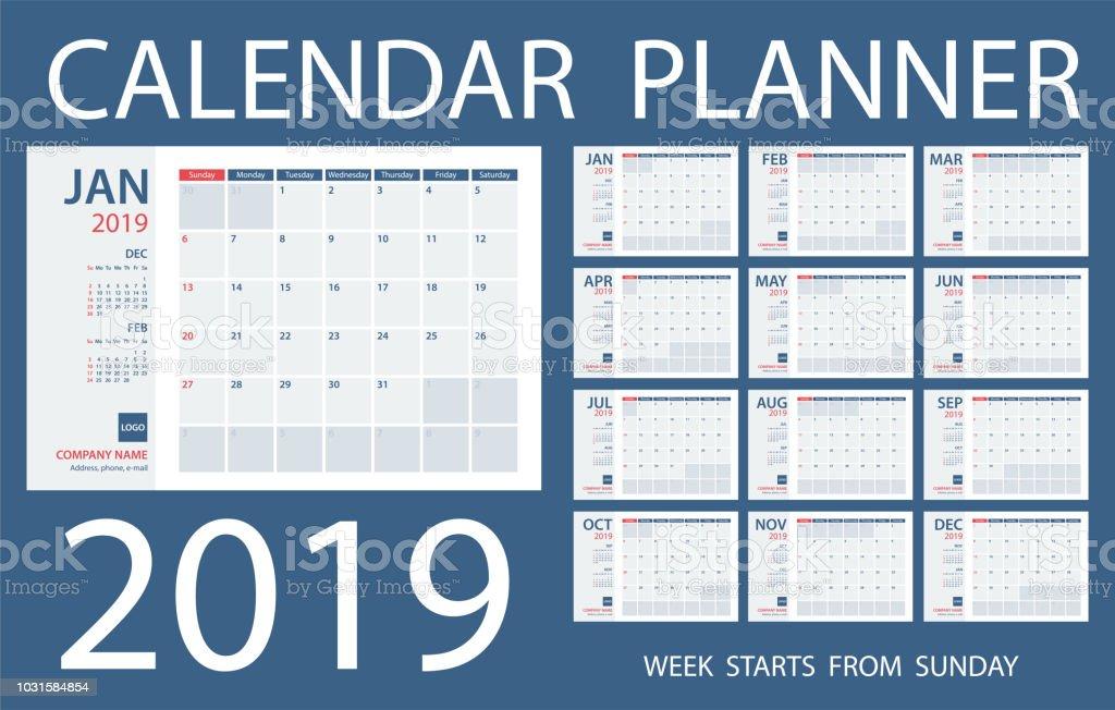 Calendar Planner 2019 Vector Template Days Start From Sunday Stock ...