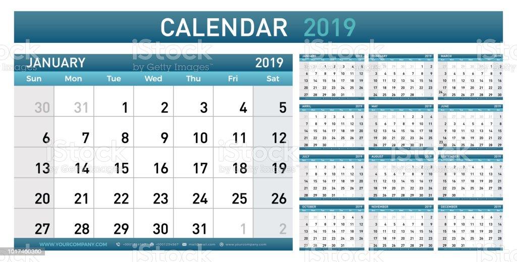 Calendar Planner 2019 Year Simple Minimal Wall Type Calendar ...