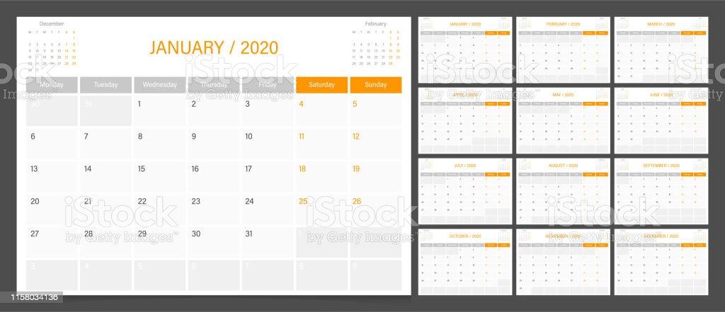 Calendar Planner 2020 Design Template Week Start On Monday Stock
