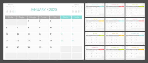 kalenderplaner 2020 design vorlage woche beginnen am montag. - tischkalender stock-grafiken, -clipart, -cartoons und -symbole