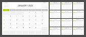 Calendar planner 2020 design template week start on Sunday.