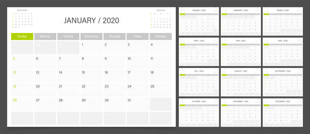 stockillustraties, clipart, cartoons en iconen met kalender planner 2020 ontwerp template week start op zondag. - juni