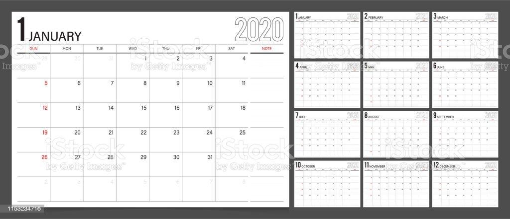Calendar Planner 2020 Design Template Week Start On Sunday Stock