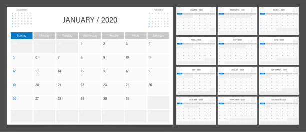 Calendar planner 2020 design template week start Sunday. Calendar planner 2020 design template week start Sunday. calendars templates stock illustrations