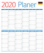 Calendar Planner 2020. German version