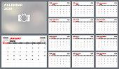 Calendar planner 2020, Set Desk Calendar template design. Week Starts on Sunday. Set of 12 Months, vector illustration EPS 10
