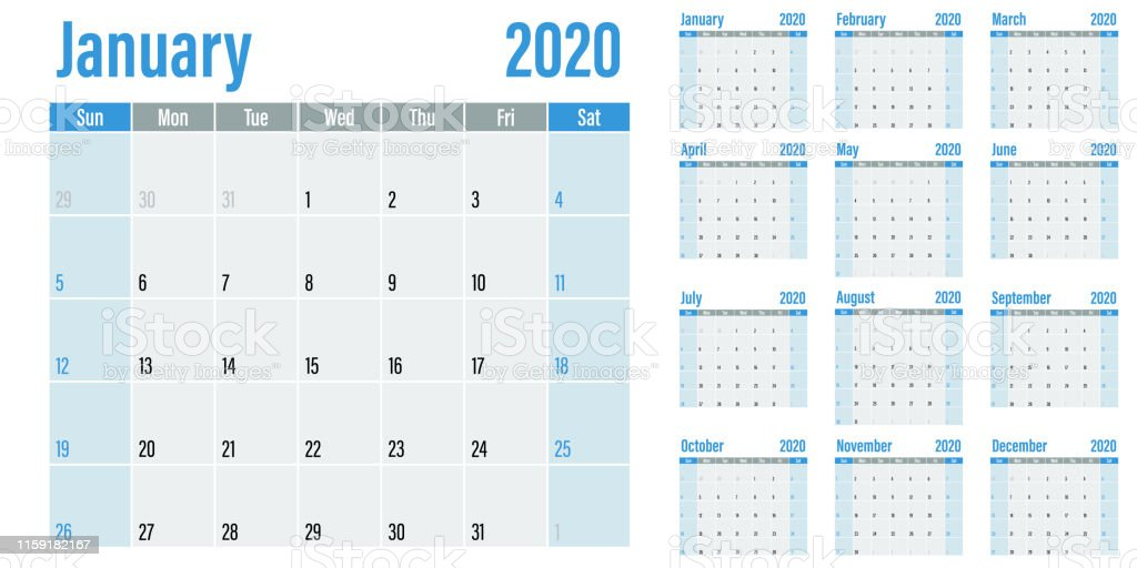 Calendario 2020 Vector Gratis.Calendar Planner 2020 Template Vector Illustration Stock