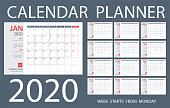 Calendar Planner 2020 - Vector Template. Days start from Monday