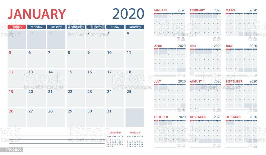 Kalender planner 2020-vector sjabloon. Dagen start vanaf zondag - Royalty-free 2020 vectorkunst