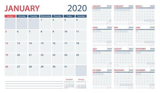 Calendar Planner 2020 - Vector Template. Days start from Sunday