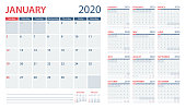 istock Calendar Planner 2020 - Vector Template. Days start from Sunday 1175268850
