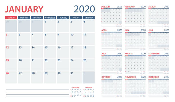 calendar planner 2020 - vector template. days start from sunday - calendars templates stock illustrations