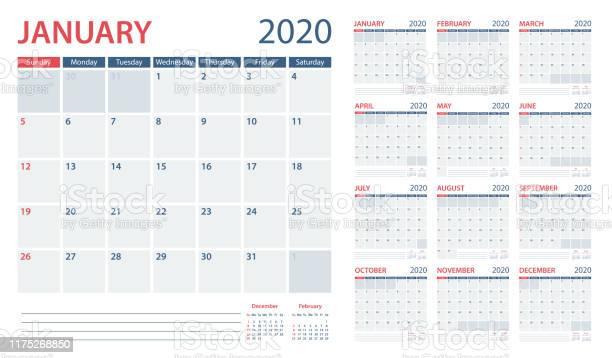 Kalender Planner 2020vector Sjabloon Dagen Start Vanaf Zondag Stockvectorkunst en meer beelden van 2020