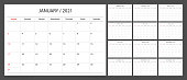 Calendar planner 2021 design template week start Sunday.
