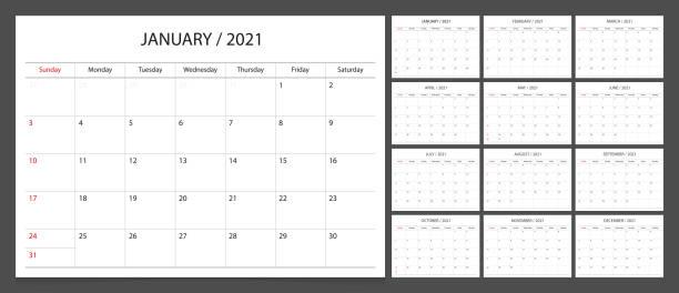 Calendar planner 2021 design template week start Sunday. Calendar planner 2021 design template week start Sunday. calendar stock illustrations