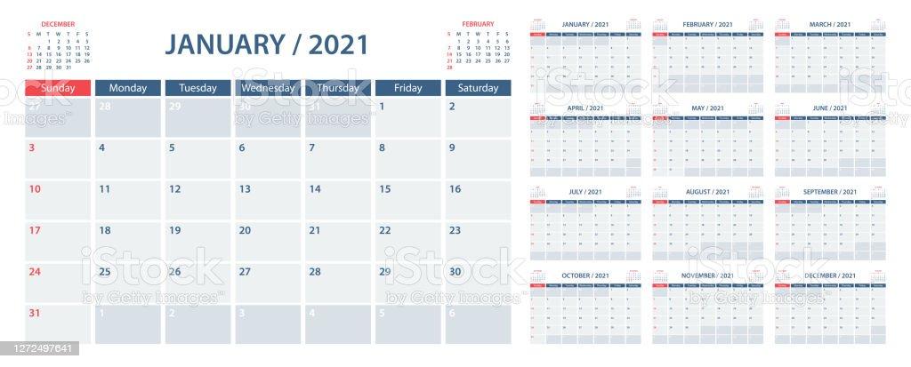 Calendar Planner 2021 Vector Template Week Starts On ...
