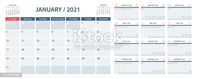 istock Calendar Planner 2021 - Vector Template. Week starts on Sunday 1272497641