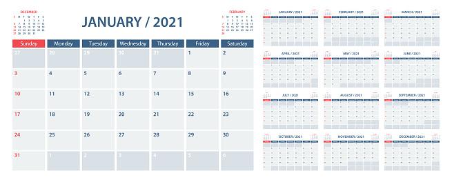Calendar Planner 2021 - Vector Template. Week starts on Sunday