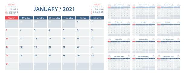 bildbanksillustrationer, clip art samt tecknat material och ikoner med kalenderplanerare 2021 – vektormall. veckan börjar på söndag - januari