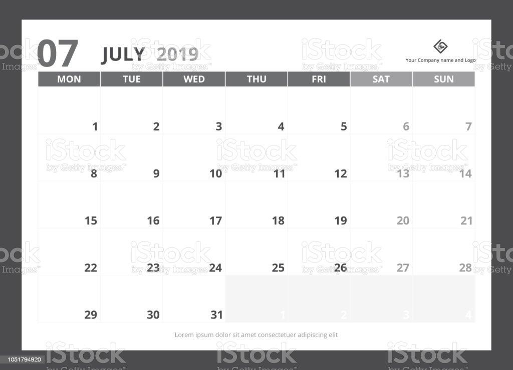 Julio Calendario 2019.Ilustracion De Planificador De Calendario 2019 A5 Tamano Plantilla