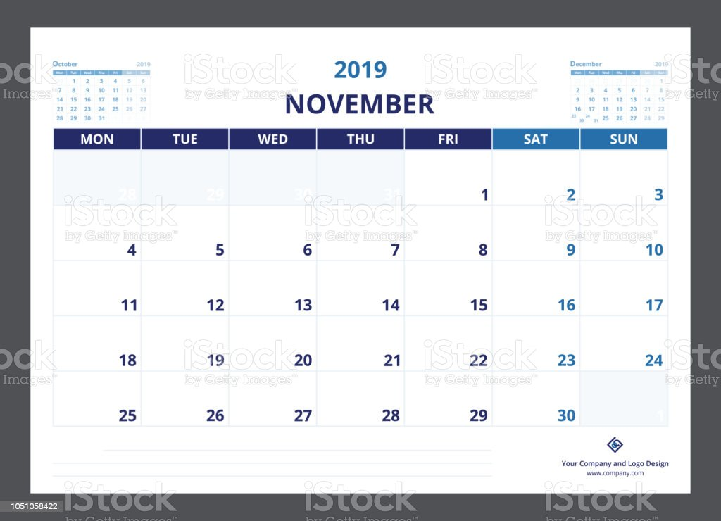Semaine 2019 Calendrier.2019 Calendrier Agenda A5 Taille Modele Novembre Commence La