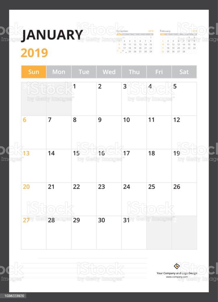 2019 Takvim Planlayıcısı Kurumsal şablon Tasarım Ocak Hafta Pazar