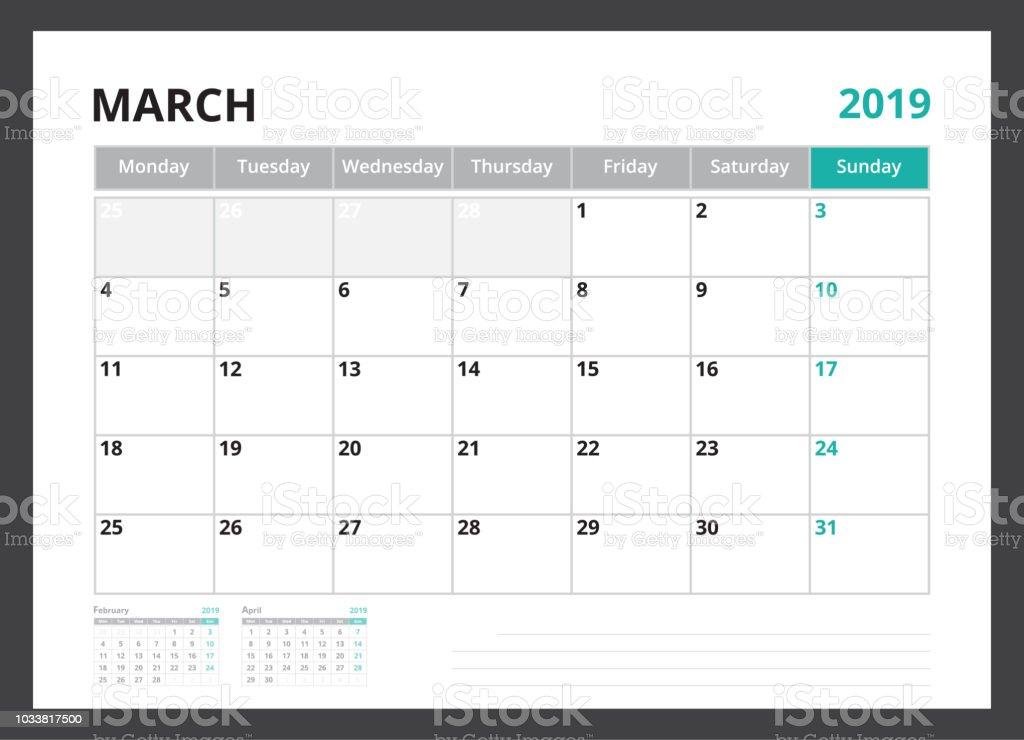 2019 Calendar Planner Corporate Template Design March Week Start On