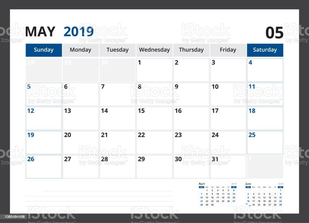 2019 Takvim Planlayıcısı Kurumsal şablon Tasarım Mayıs Hafta