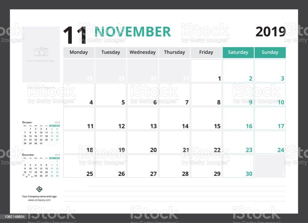 Semaine 34 Calendrier 2019.Semaine De Novembre 2019 Calendrier Planificateur Corporatif