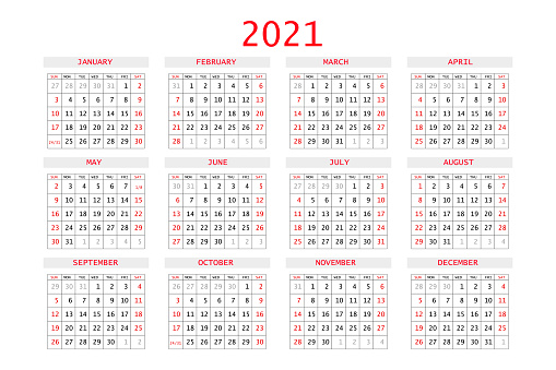 2021 calendar planner. Corporate week. Template layout, 12 months yearly, white background. Simple design for business brochure, flyer, print media, advertisement. Week starts from Sunday. A4 size.