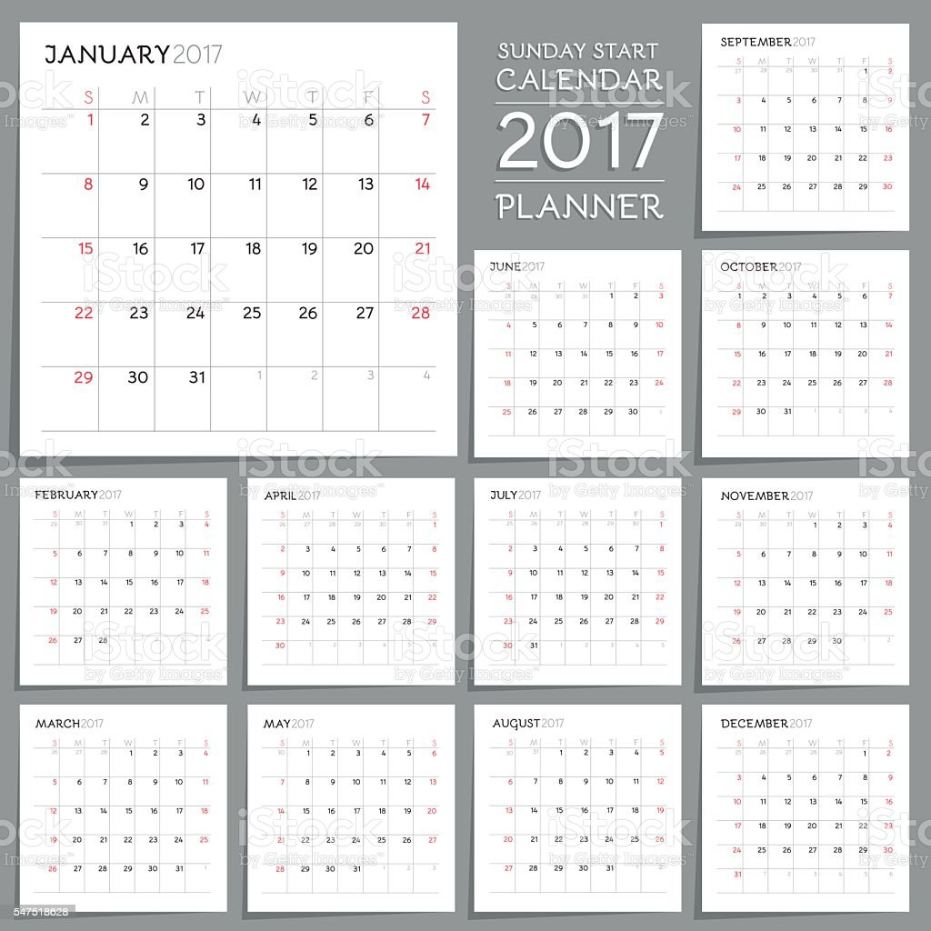 Calendar Planner Design. Week starts from Sunday. vector art illustration