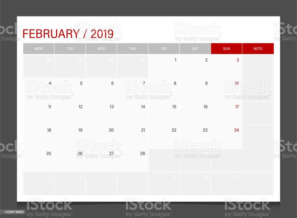 2019 カレンダー プランナー 2 月週の始まり月曜日コーポレート デザイン