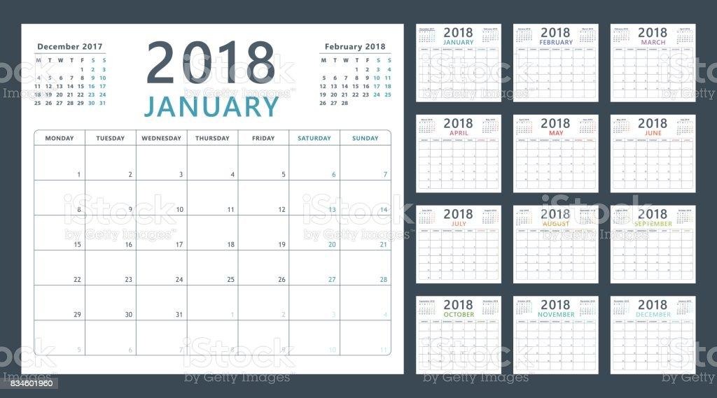 Planificador de calendario para 2018 comienza el lunes, vector calendario diseño año 2018 ilustración de planificador de calendario para 2018 comienza el lunes vector calendario diseño año 2018 y más vectores libres de derechos de 2018 libre de derechos