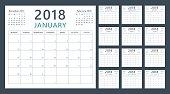 2018 のカレンダー プランナー開始月曜日、ベクター暦 2018 年