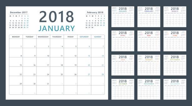 2018 のカレンダー プランナー開始月曜日、ベクター暦 2018 年 - カレンダー点のイラスト素材/クリップアート素材/マンガ素材/アイコン素材