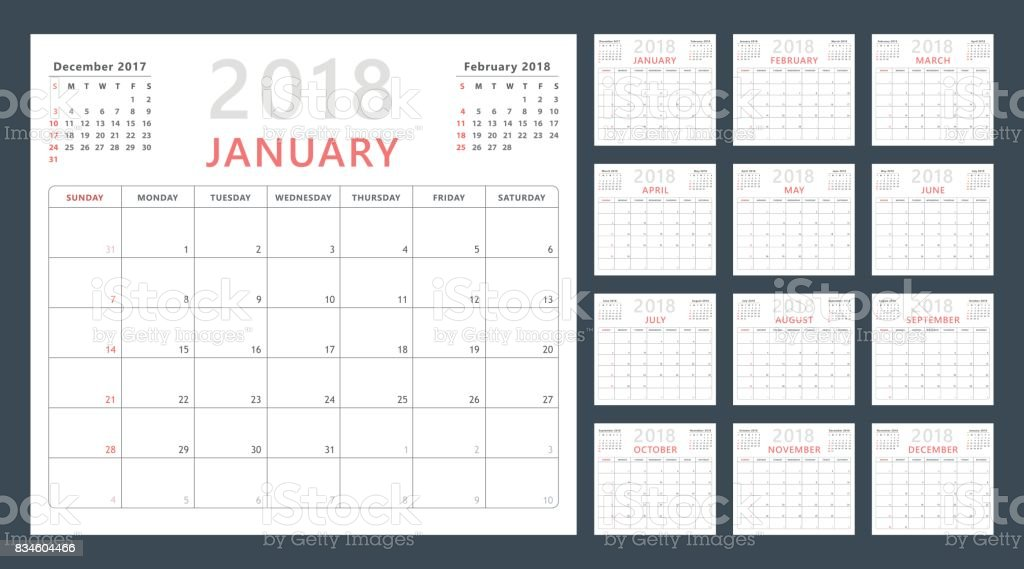 calendar planner for 2018 starts sunday, vector calendar design 2018 year vector art illustration