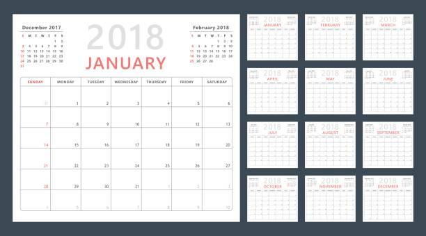 kalender planer für 2018 beginnt sonntag, vektor kalenderdesign 2018 jahr - monatskalender stock-grafiken, -clipart, -cartoons und -symbole