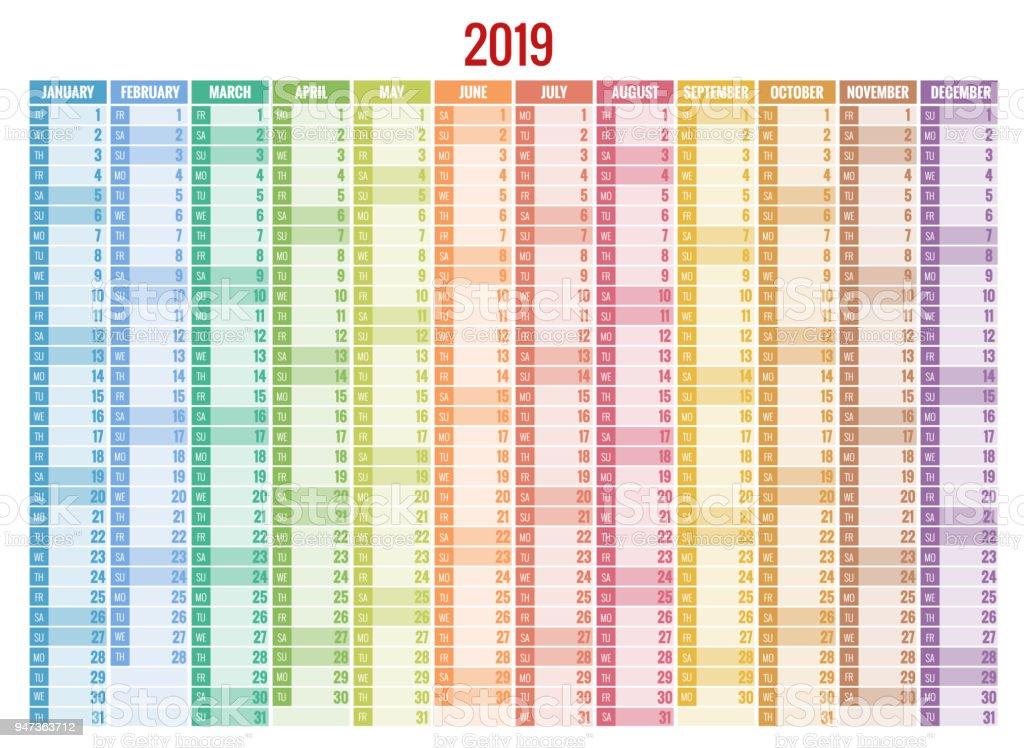 kalender planner voor 2019 jaar vector design print. Black Bedroom Furniture Sets. Home Design Ideas