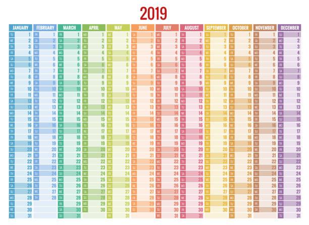 2019 yıl için takvim planlayıcısı. vektör ileti örneği tasarım baskı şablonu fotoğraf, simge ve metin için yer. - yıllık olay stock illustrations