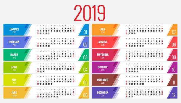 kalender-planer für das jahr 2019. vektor briefpapier design drucken vorlage mit platz für foto, ihr logo und text. im hochformat. satz von 12 monaten. - tischkalender stock-grafiken, -clipart, -cartoons und -symbole