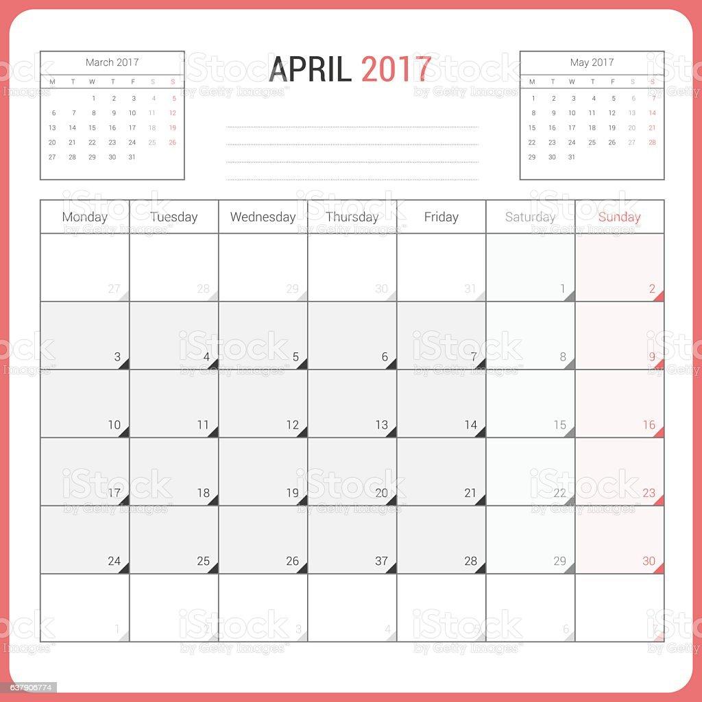 Calendar Planner for April 2017 vector art illustration
