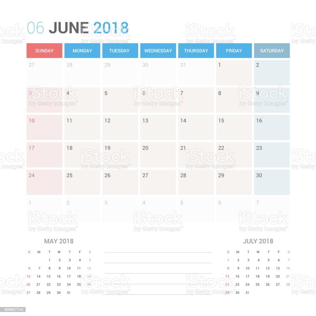 2018 年 6 月カレンダー プランナー ベクター デザイン テンプレート固定