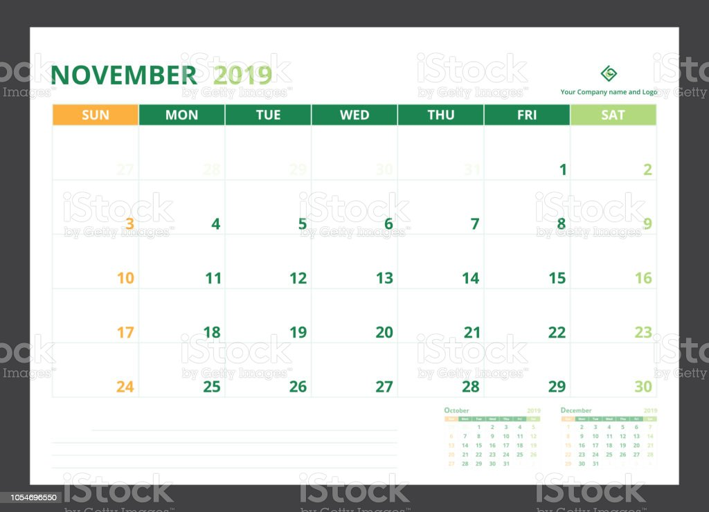 2019 Calendar Planner For Template Design Size A5 November Starts