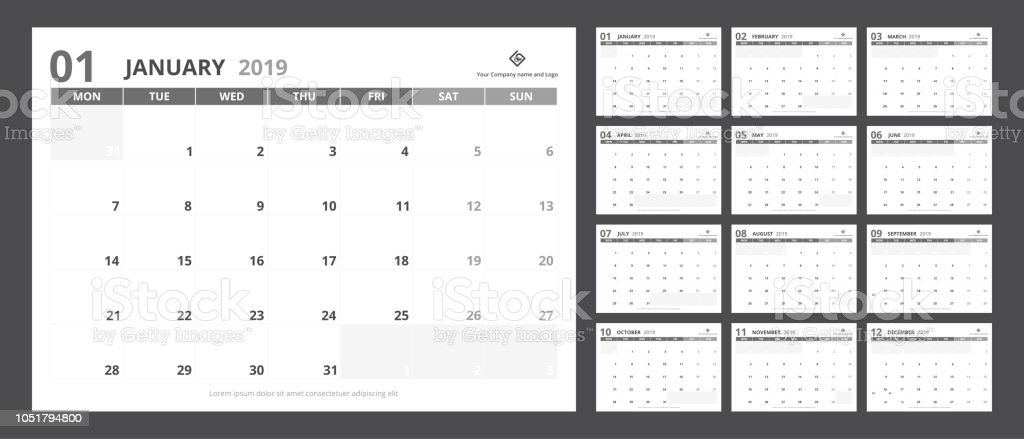 2019 Calendar Planner Set For A5 Size Template Design Starts Week On