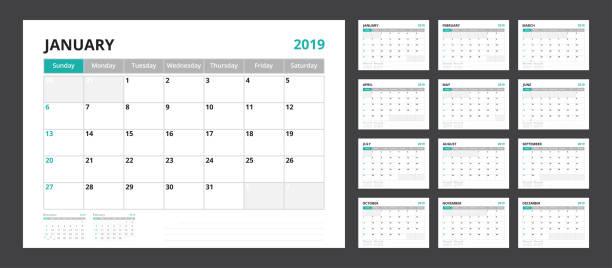 2019 kalender planer für vorlage corporate designs wochenstart am sonntag gesetzt. - monatskalender stock-grafiken, -clipart, -cartoons und -symbole