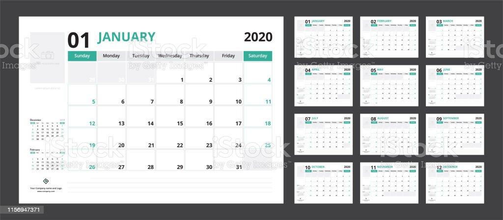 2020 kalender planner set voor sjabloon Corporate Design week start op zondag. - Royalty-free 2020 vectorkunst