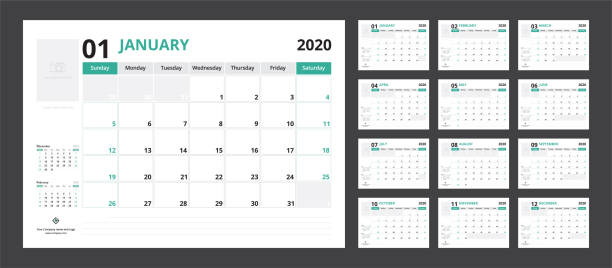 2020 calendar planner set for template corporate design week start on sunday. - calendars templates stock illustrations