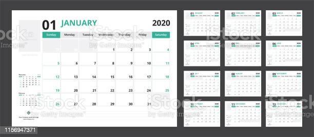 2020 Kalender Planner Set Voor Sjabloon Corporate Design Week Start Op Zondag Stockvectorkunst en meer beelden van 2020