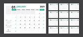 2021 calendar planner set for template corporate design week start on Sunday.